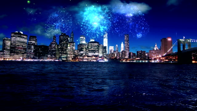Di fuoco d'artificio sopra Manhattan New York