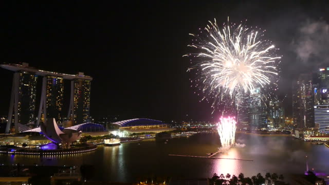 firework with Singapore City skyline