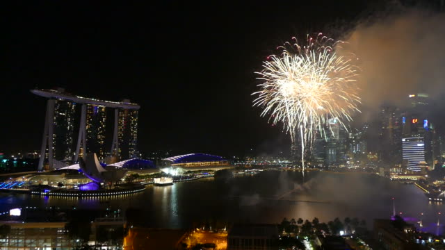 firework with singapore city skyline - merlion fictional character stock videos and b-roll footage