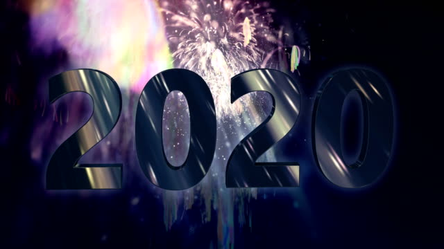 vídeos de stock, filmes e b-roll de fogos-de-artifício e fundo loopable do movimento de 2020 texto 4k - dia do ano novo