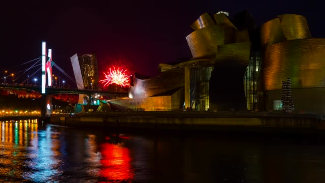 fireworks and guggenheim museum in bilbao - week stock videos and b-roll footage