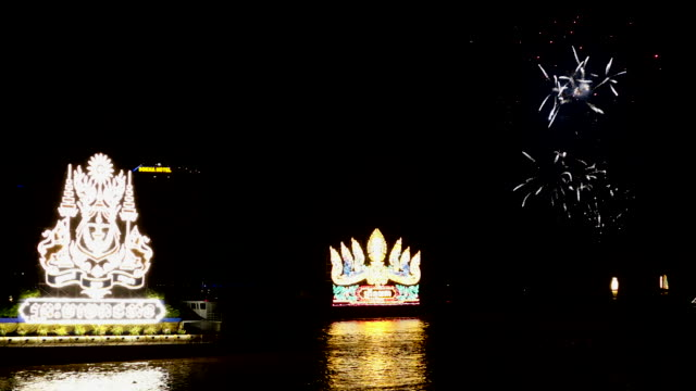 fireworks and illuminated boats called loy pratip light up the night as part of the annual water festival on november 13 2016 in phnom penh cambodia - cambodia stock videos & royalty-free footage