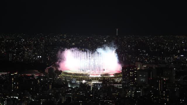 fireworks are displayed during the opening ceremony of the tokyo 2020 olympic games at olympic stadium on july 23, 2021 in tokyo, japan. - ceremony stock videos & royalty-free footage