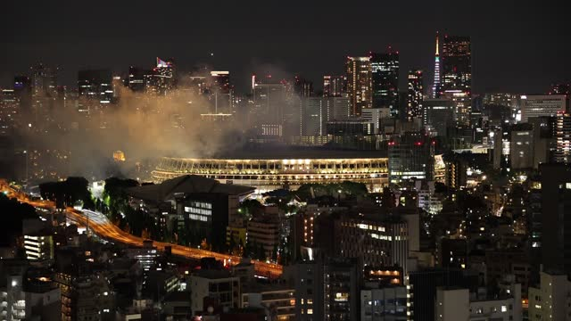 fireworks are displayed during the opening ceremony of the tokyo 2020 olympic games at olympic stadium on july 23, 2021 in tokyo, japan. - firework display stock videos & royalty-free footage