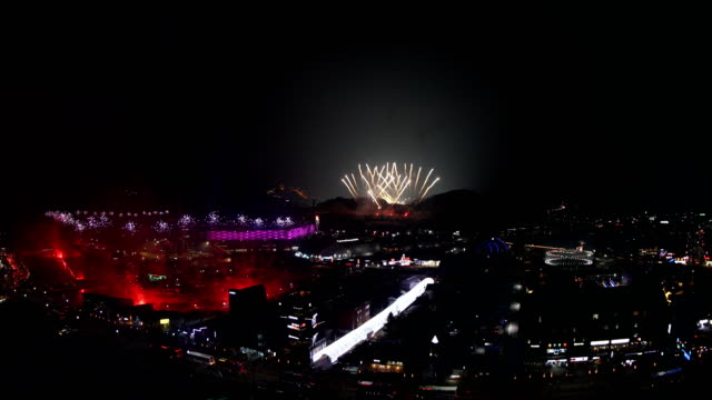 fireworks are seen during the opening ceremony of the pyeongchang 2018 winter olympic games at pyeongchang olympic stadium on february 9 2018 in... - opening ceremony stock videos & royalty-free footage