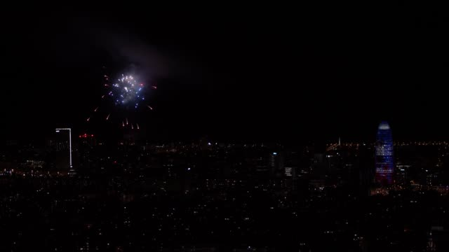 fireworks are seen over the beach of barcelona during the local fest of merce on september 27 in barcelona spain the piromusical is one of the most... - pyrotechnic effects stock videos & royalty-free footage