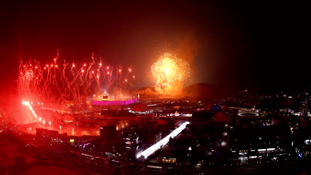 Fireworks at Opening Ceremony of the PyeongChang 2018 Winter Olympic Games at PyeongChang Olympic Stadium on February 9 2018 in Pyeongchanggun South...