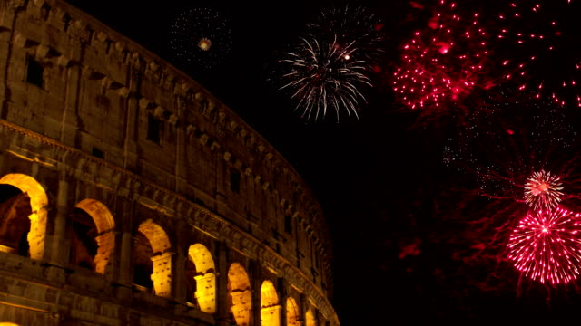 4K: Fireworks behind the Colosseum in Rome, Italy