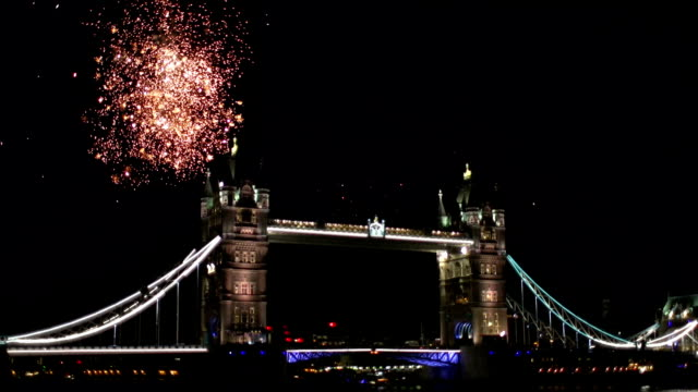 Fireworks behind Tower Bridge in London