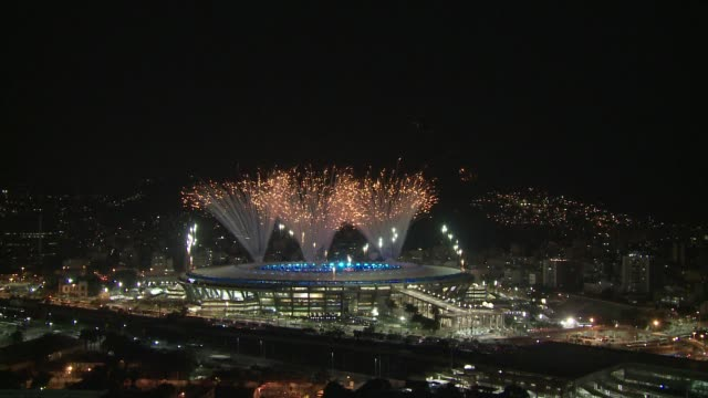 fireworks display at maracana stadium on the opening night of the 2016 rio de janeiro olympic games - sport venue stock videos & royalty-free footage
