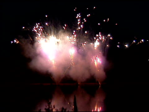 fireworks display at night 2 - orthographic symbol stock videos & royalty-free footage