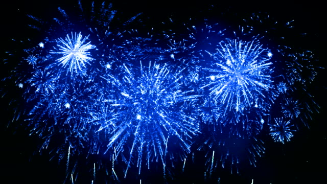 fireworks display blue color - firework display stock videos & royalty-free footage