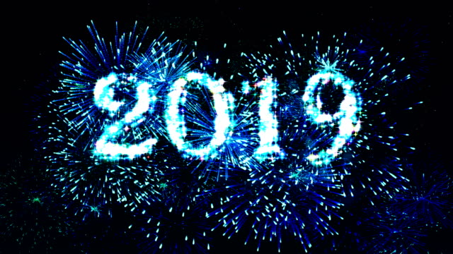 fireworks display countdown 2019 blue 4k. - 2019 stock videos and b-roll footage