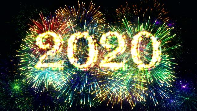 花火ディスプレイカウントダウン2020 4k。 - firework display点の映像素材/bロール