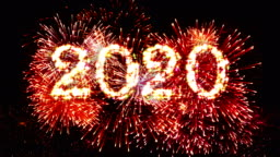 Fireworks Display countdown 2020 Red 4k.