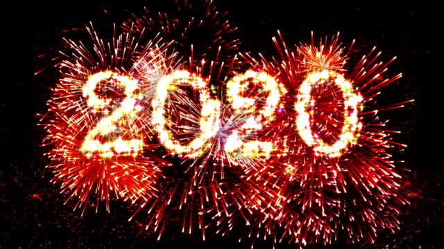 vídeos de stock e filmes b-roll de fireworks display countdown 2020 red 4k. - contagem regressiva