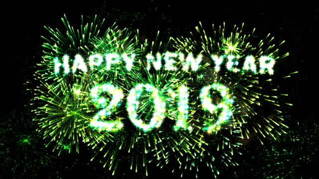 fireworks display countdown happy new year 2019 green 4k - 2019 stock videos and b-roll footage