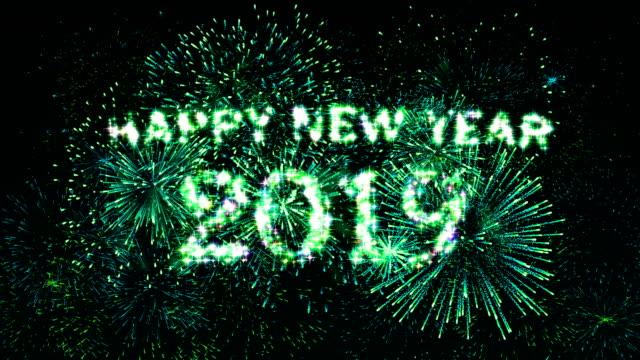 Fireworks Display Countdown Happy New Year 2019 Spectrum 4k Stock ...