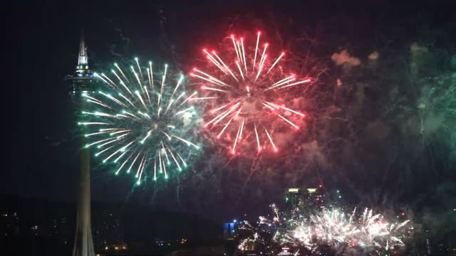 fireworks explode over the sea area in front of macau tower during the opening of the 30th macao international fireworks display contest on september... - firework display stock-videos und b-roll-filmmaterial
