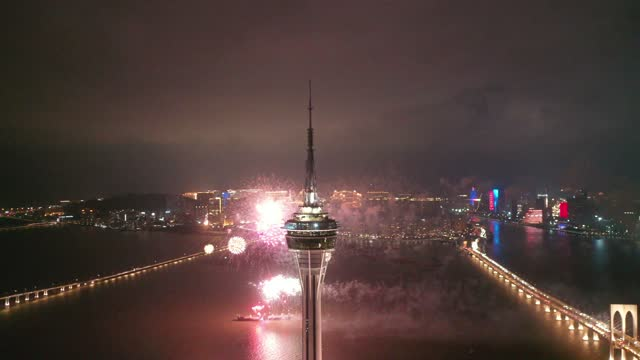 fireworks explode over the sky of macau to mark the national day on october 1, 2020 in macau, china. - firework display stock videos & royalty-free footage