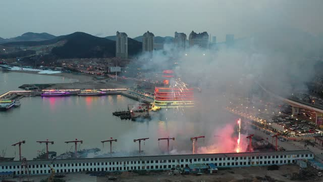 fireworks exploded over the sky for memoring to the sea god on february 24, 2021 in dalian, liaoning province of china. - firework display stock videos & royalty-free footage