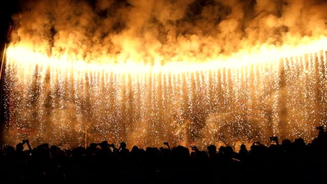 Fireworks exploding at night, Delhi, India