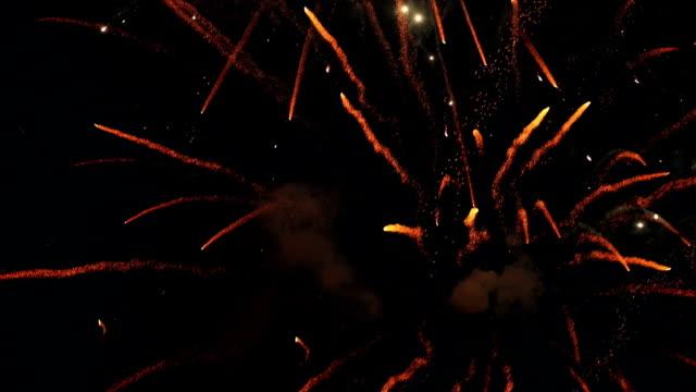 Fireworks exploding at night sky, Delhi, India