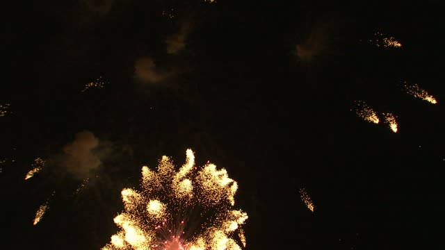 vídeos de stock, filmes e b-roll de ws fireworks exploding in night sky / provo, utah, usa - provo