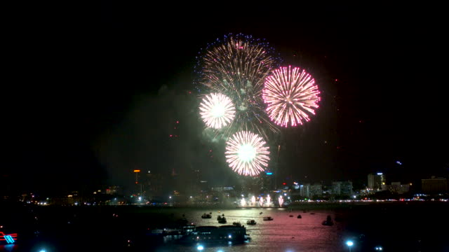 fireworks explored over cityscape at night.holiday and celebration background - low unemployment stock videos & royalty-free footage