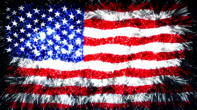 fireworks flag of usa - stars and stripes stock videos & royalty-free footage