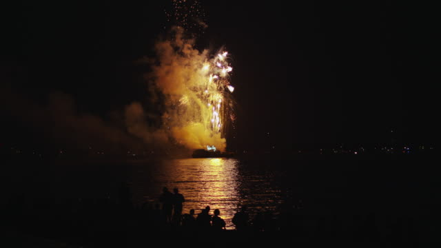 fireworks from barge in westport ct - barge stock videos & royalty-free footage