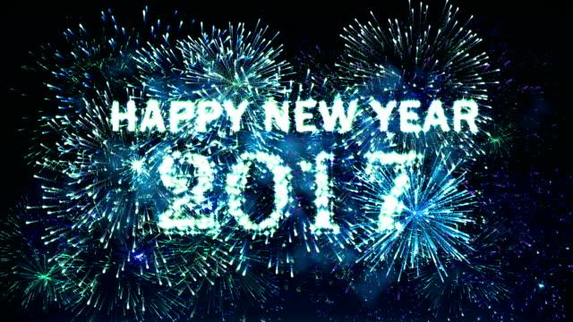 Fireworks Happy new year 2017 blue