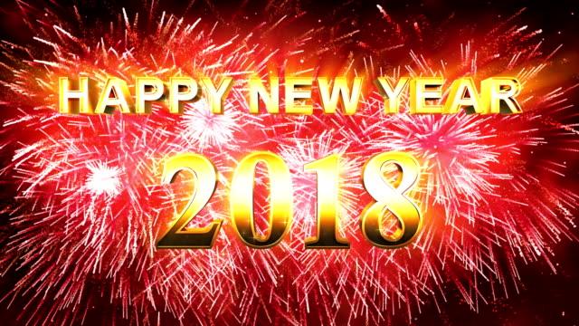 Vuurwerk Happy new year 2018 rood
