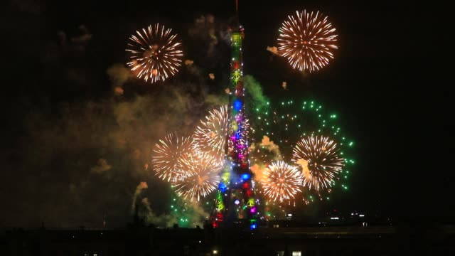 fireworks illuminate the eiffel tower during bastille day celebrations late tuesday on july 8, 2020 in paris, france. this year due to covid19... - daydreaming stock videos & royalty-free footage