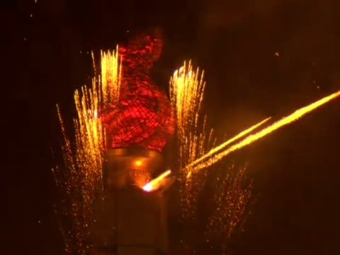 fireworks in celebration of the 100th anniversary of the birth of north korea's founder kim ilsung - 100th anniversary stock videos & royalty-free footage