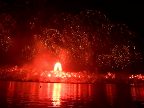 fireworks in celebration of the 100th anniversary of the birth of north korea's founder kim ilsung - centesimo anniversario video stock e b–roll