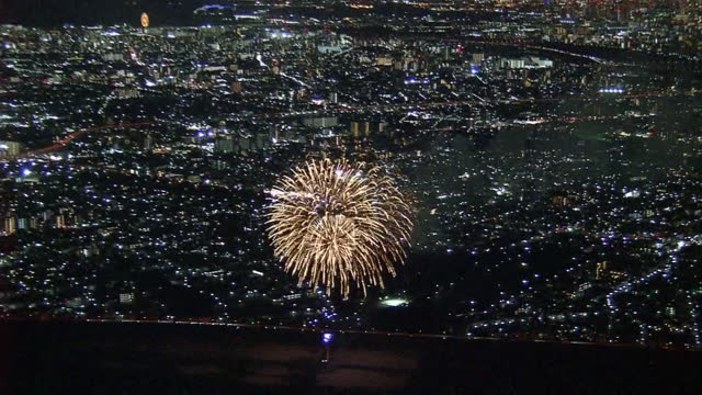 aerial, fireworks in hope of covid infections end, tokyo, japan - firework display stock videos & royalty-free footage