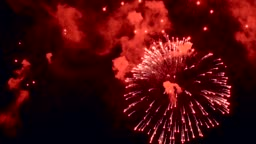 Fireworks in night sky. Explosion of many bright lights. Taken on 9-may celebration. Fire and pyrotechnics event party.