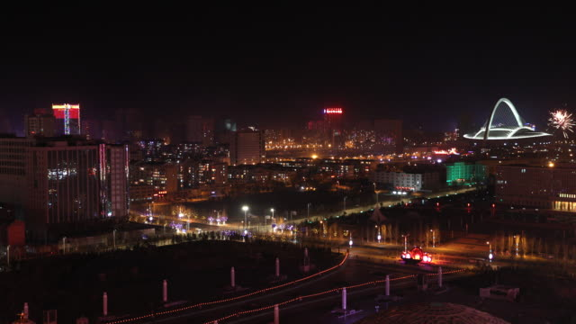 CNY Fireworks in Ordos at night
