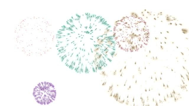 stockvideo's en b-roll-footage met fireworks in space - vuurwerkshow