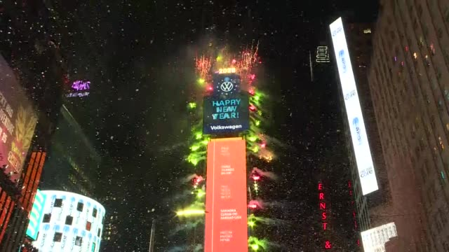 fireworks light up the sky during the new year celebrations at times square in new york united states on january 01 2020 - times square manhattan stock videos & royalty-free footage