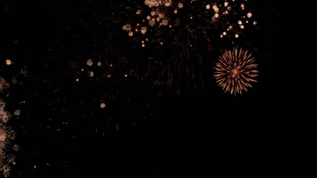 vídeos de stock e filmes b-roll de fireworks light up the sky,fireworks display on dark sky background.new year celebration - cartão de ano novo
