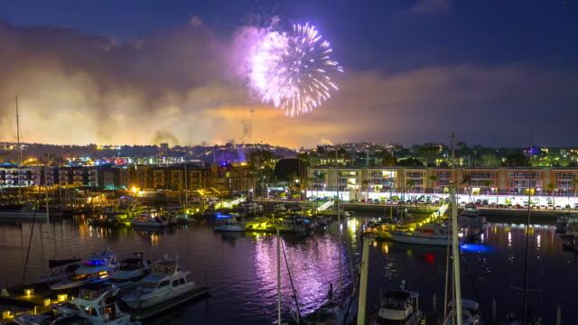 stockvideo's en b-roll-footage met fireworks - marina del rey, california timelapse - jachthaven