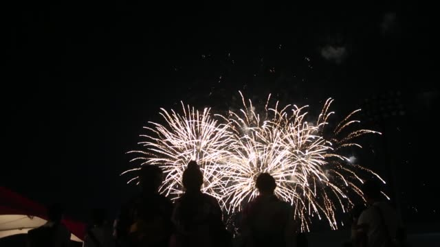 Ebina Kanagawa Prefecture Japan July 23 2017 Fireworks of Ebina Citizen Festival some Japanese girls wearing yukata watching the performance