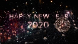 Fireworks on deep black sky background with Happy New Year 2020 greeting message, perfect for new year celebrations, typography design - Event & Festive concept 4K