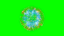 Fireworks, orange and blue holiday background, Green Screen Chromakey