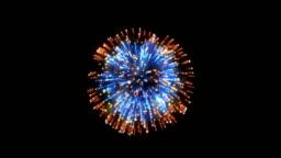 Fireworks, orange and blue holiday background, on black