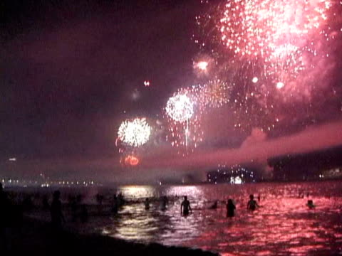 ws, fireworks over copacabana beach on new year's eve, rio de janeiro, brazil - 2004 stock videos & royalty-free footage