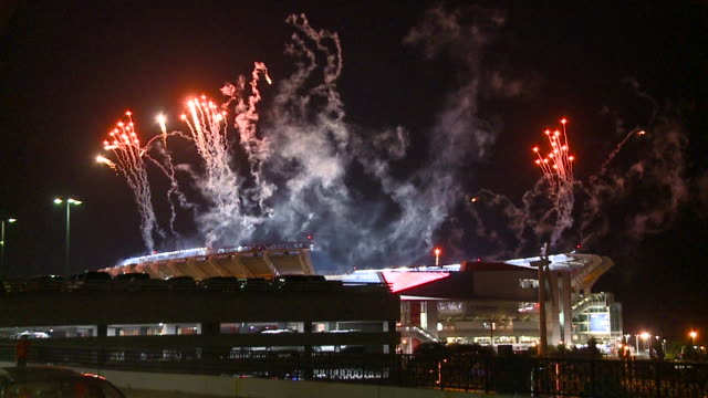 wjw fireworks over firstenergy stadium after cleveland browns' first win since 2016 on september 20 2018 - cleveland browns stadium stock videos & royalty-free footage