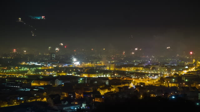 t/l fireworks over the city - midnight stock videos & royalty-free footage